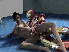 Sexy 3D cartoon brunette babe fucked by Iron Man