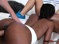 Two Young Black Chicks And White Guy Fuck in Threesome