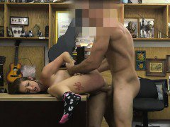 Brunette Doggystyled And Face Fucked On Pawn Shop Desk