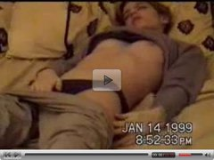 young girl masturbates on bed