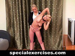 Special naked training for sexy blonde