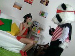 Sexy brunette girl in red tempts Panda