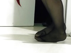 Candid Sexy Black Nylons Pantyhose Tired Feet & Legs