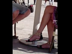 Candid Sexy Legs and Feet in Sandals at Cafe