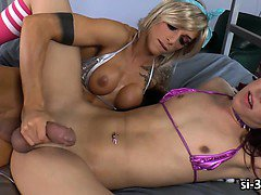 Tgirl sweethearts Kendra Sinclaire and Nina Lawless fucking