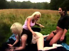 Outdoor threesome fuck for British CFNM girls