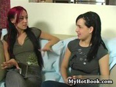 Lesbian brunette  Jamie James starts is with the t