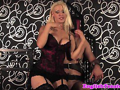 Dominating lingerie mistress in cbt action