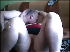 Older mature couple kissing and pussy