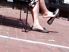 Candid Mature Shoeplay Dangling Flats Nylons Feet Face
