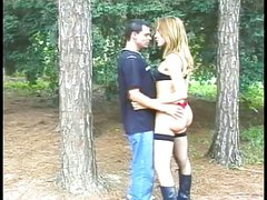 Tranny slut with nice ass sucks cock in the woods