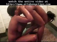 Afro Lesbians Virgin &amp_ Alisha Eating Pussies In The Shower  black ebony cumshots ebony swallow i