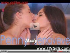 Two Hot teens lesbian kissing with tongue