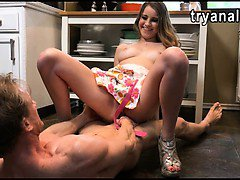 Cute girlfriend Kinsley Eden anal fucked in the kitchen