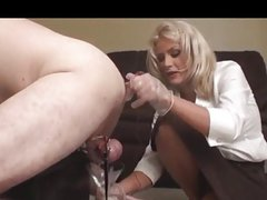 Chastity slave prostate milked while locked up with e-stim