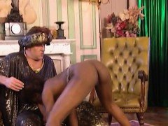 Ebony slave pleases her master in orgy with other slaves.