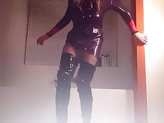 Purple Latex Dress & Black Hooker Boots - Suleika Latex