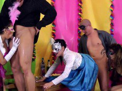 Pissing euro babe banged in costume orgy