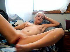 Horny Blonde Teen Masturbating on camera