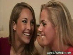 Blond cfnm sluts suck guys hard dick as a team on sofa