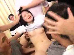 Petite Oriental slut takes on a gang of hard dicks and gets