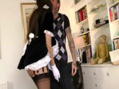 Mature french maid dusts the dust of his cock with her mouth