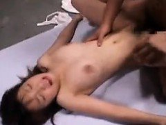 Slutty Japanese girl has a group of boys unloading all over