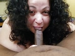 BBW deepthroats BBC and swallows cum