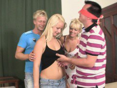 Family threesome with his hot blonde gf