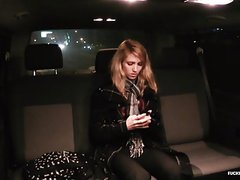FUCKED IN TRAFFIC - Backseat sex with blondie Beatrix Glower