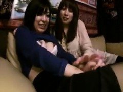Two ravishing Japanese girls enjoying an exciting lesbian e