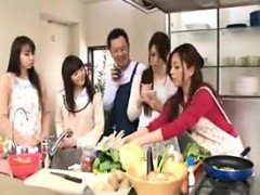 Cooking show turns into an orgy with hot babes getting boob