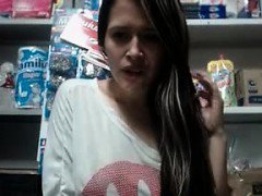 Teen solo masturbating in public shop