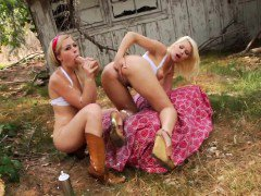 Milk enema country lez toying ass outdoors