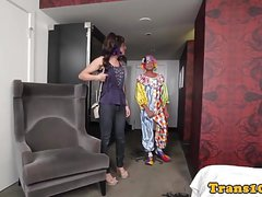 Purplehaired tranny riding on clowns dong