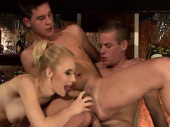 Busty blonde hammered in bisexual threeway sex at the bar