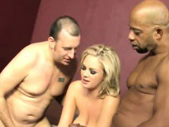 Husband watching wife Katie Kox pounding Black Stud