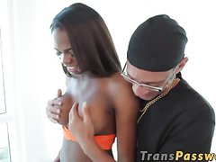 Ebony shemale gets pounded hard in her ass with big cock