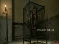 Small hot babe in cage released