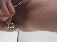 Wanking with anal-plug cock-ring combination Huge Load