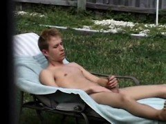 Step-brother Caught Masturbating In The Back Yard