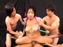 Stacked Oriental beauty gets treated like a slut by three h