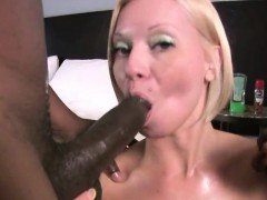 Nympho blonde Milf drawing and throating 2 BBCs