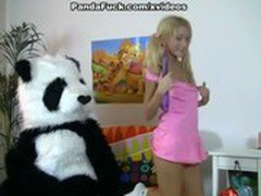 Striptease and hot fuck for shy Panda