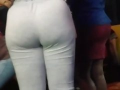 Candid ebony with a fat ass in grey body suit slo -mo.