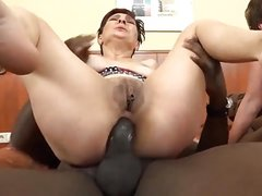 Two lesbians grannies anal sex with BBCs