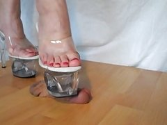 Horny trampled beautiful feet and shoes