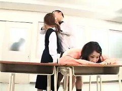 Bad schoolgirls get punished by bending over and sucking di