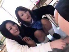 Cute schoolgirls play with their teacher and toy his tight