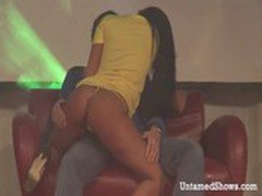 Horny brunette stripper masturbating on the stage
